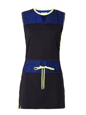 Mesh-panel sleeveless performance dress