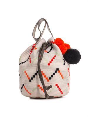 Nataly woven-cotton bucket bag
