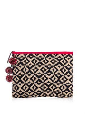 Marilu woven-cotton clutch