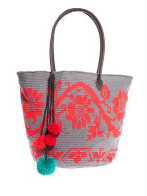 Amora woven-cotton shopper
