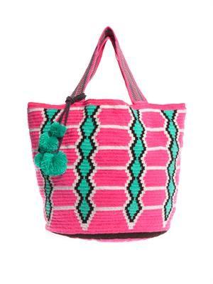 Inez woven-cotton shopper bag
