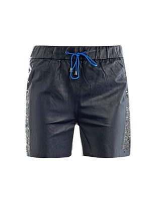 Laser-cut leather board shorts