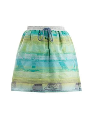 Printed drawstring skirt