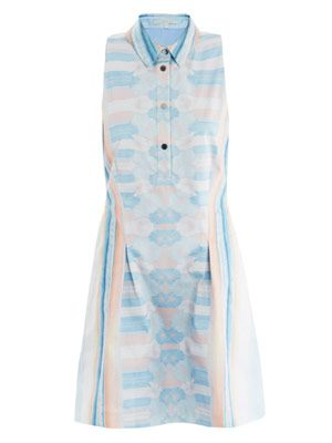 Mirrored denim print dress