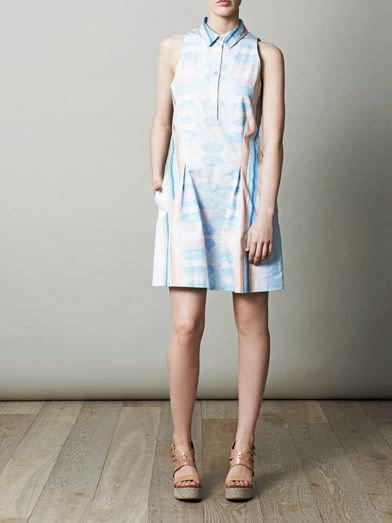 Jonathan Simkhai Mirrored denim print dress