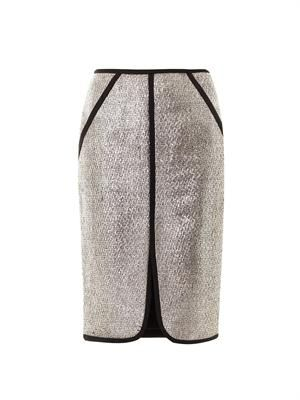 Metallic boucle skirt