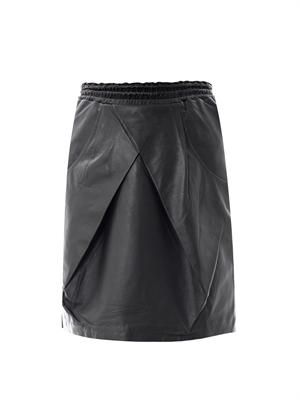 Cross pleat leather skirt