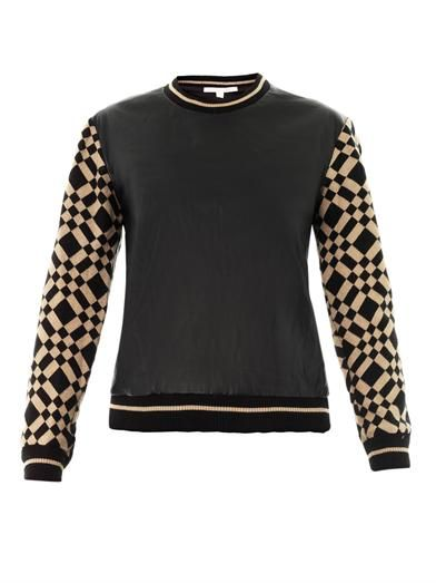 Jonathan Simkhai Leather and check-knit sweatshirt
