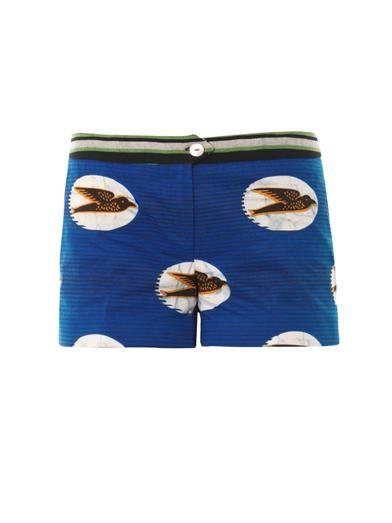 Stella Jean Garofano swallow-print shorts