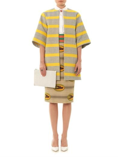 Stella Jean Olmo stripe-print cotton coat