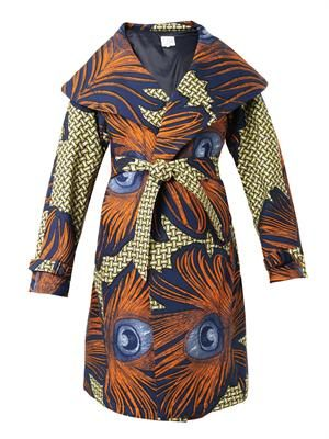 Lidia peacock feather-print coat