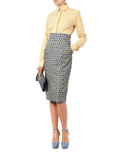 Stella Jean Agnese tribal-print pencil skirt
