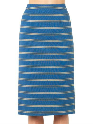 Stella Jean Melissa striped-cotton pencil skirt
