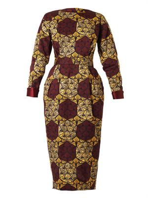 Katerina printed long-sleeved dress