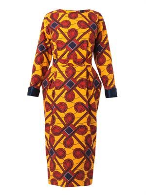 Cinzia printed long-sleeved dress