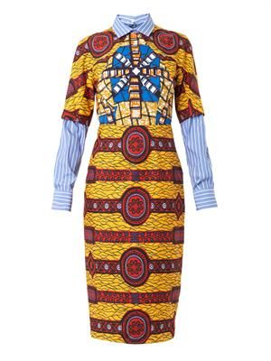 Barbara layered-shirt printed dress