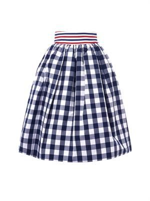 Primula gingham-check cotton skirt