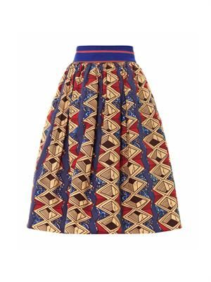 Iris tribal-print cotton skirt