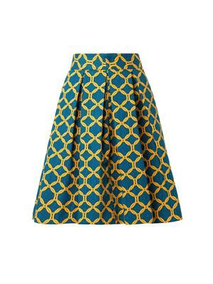 Delfina chain-print pleated skirt