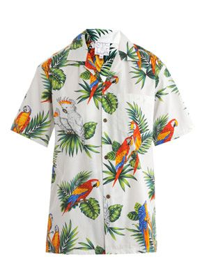 Hawaiian parrot-print shirt