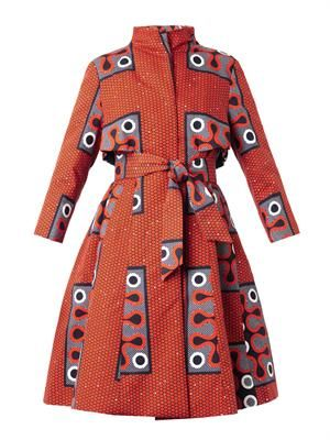 Clara tribal-print A-line trench coat