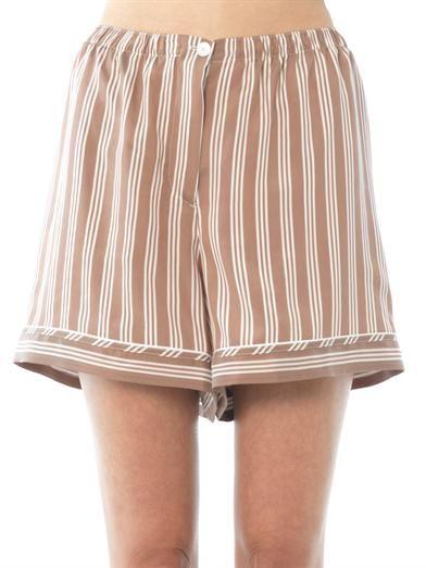 Rochas Banker-stripe mousseline shorts