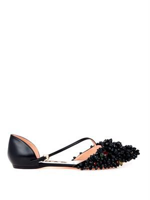 Embellished point-toe leather flats