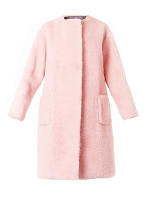 Boiled-wool collarless coat