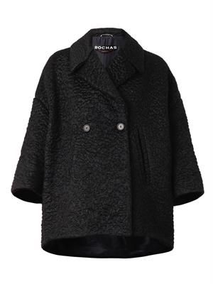 Double-breasted textured coat