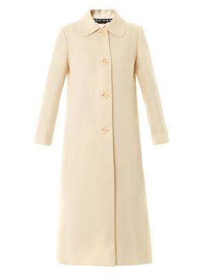 Silk-twill midi coat
