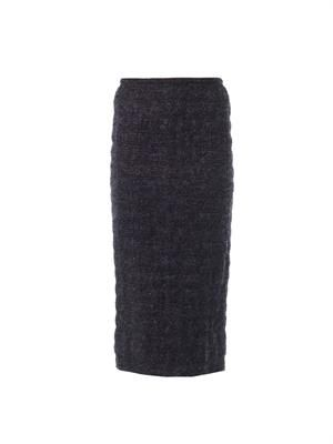 Frozen-boucle pencil skirt