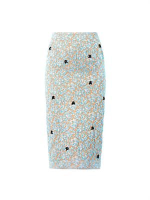 Metallic-jacquard midi pencil skirt