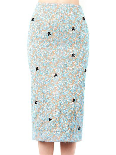 Rochas Metallic-jacquard midi pencil skirt