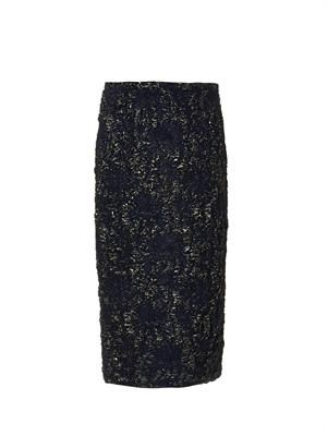 Floral-brocade pencil skirt