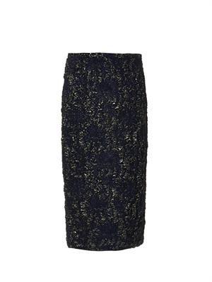 Floral-brocade pencil skirt