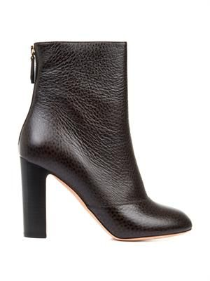 Tumbled-leather ankle boots