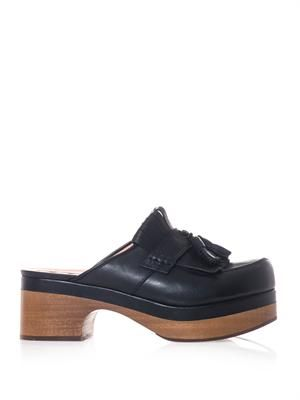 Tassel-front leather clogs