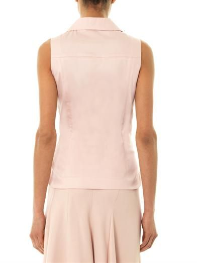 Rochas Cotton-satin sleeveless top