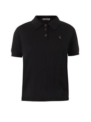 Wool-knit polo shirt
