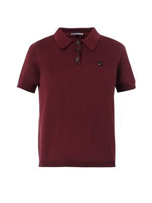 Wool-knit polo top