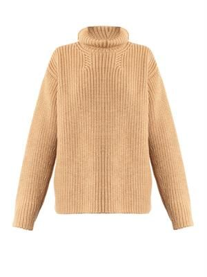 Roll-neck wool and angora-blend sweater