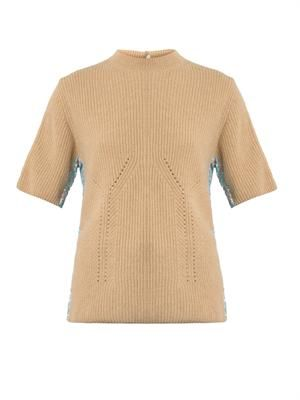 Knit and metallic-jacquard sweater