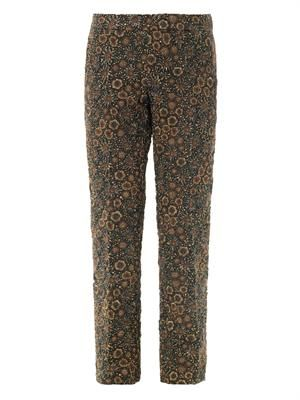 Flower boucle cropped trousers