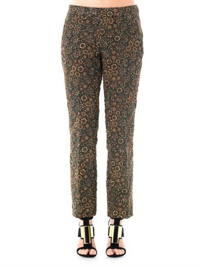 Rochas Flower boucle cropped trousers