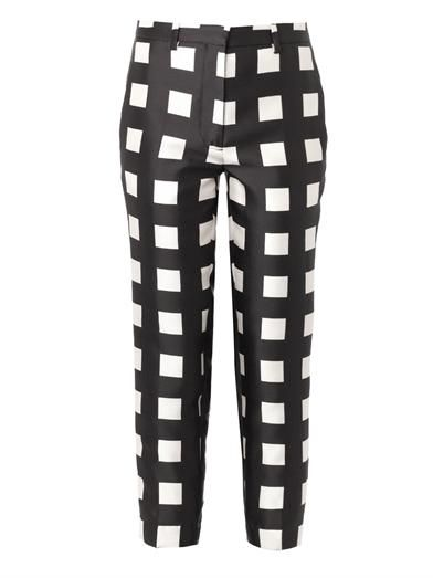 Rochas Check-print wool and silk-blend trousers