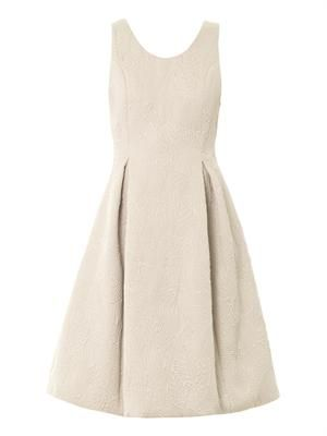 Leaf-jacquard sleeveless dress