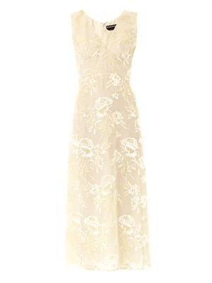 Big rose velvet-jacquard midi dress