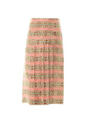 Coral-print pleated silk skirt
