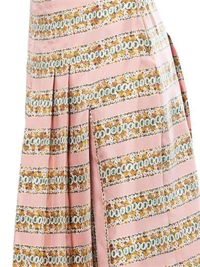 Rochas Coral-print pleated silk skirt