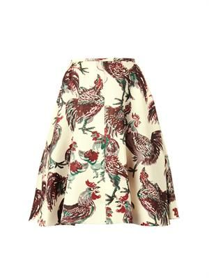 Rooster-print duchess-satin skirt